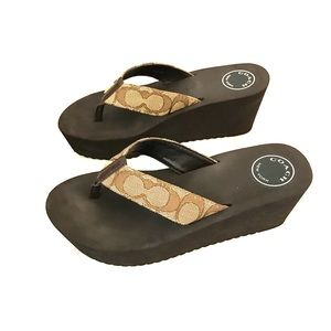 Coach Platform Flip Flops Size 6
